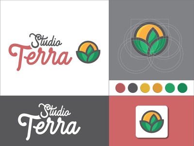 StudioTerra 2020 icon studio creative grow sun leaf typography contest branding design vector logo illustration