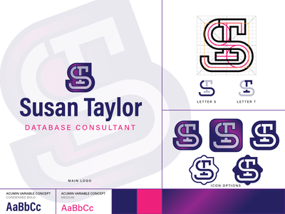 Logodesign Susan Taylor consultant practice letter grid logo monogram typography branding icon design vector logo illustration