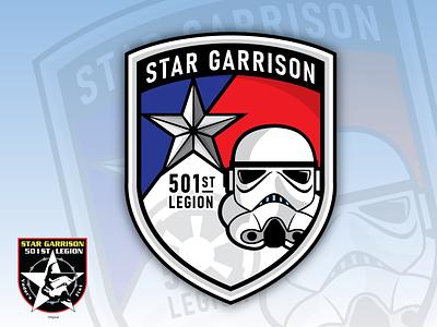 Star Garrison Badge 501 legions star wars icon vector logo legion stormtrooper 501st lonestar texas starwars emblem badge design illustration