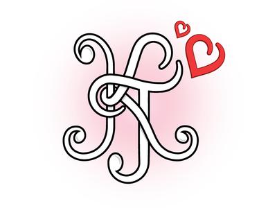 KT Wedding monogram hearts wedding monogram kt