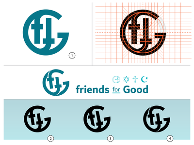 Friends For Good (FFG) Logo/Icon concept grid design logo