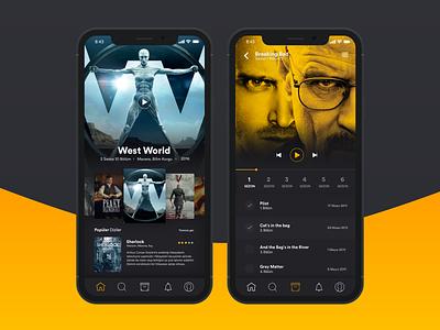 TV Series App iphone x cinema dark ui application movie tv series