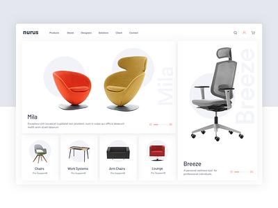 Nurus Furniture clean product e commerce shop chair light web furniture