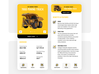 Product Detail Page industry ios ecommerce clean mining truck