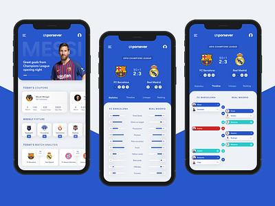 Sports News & Score App clean minimal mobile app sports news sports flat design soccer app basketball statistics news iphone app live score football