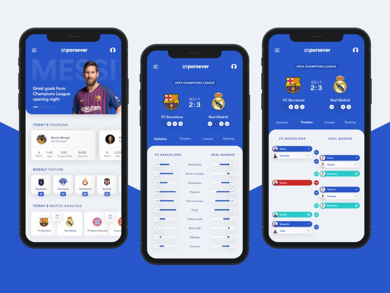 Sports News & Score App clean minimal mobile app sports news sports flat design soccer app basketball statistics news iphone app live score football
