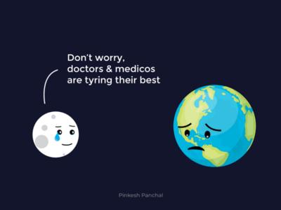 World Health Day moon earth corona awareness corona outbreak corona comic art graphic design comic health day world health day