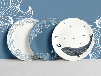 Jonah and the huge fish tableware