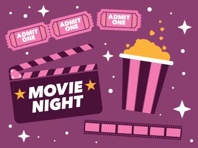 Movie Night! film iconography icons icon clapperboard movie roll popcorn movie ticket movies