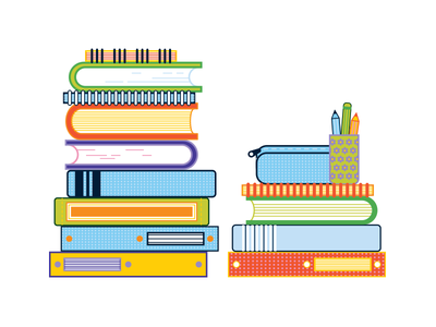 Books WIP illustration pencil case pencil icons notebook school book