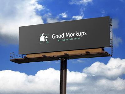Free Realistic Outdoor Advertising Billboard Mockup PSD psd outdoor advertising outdoor mockup free mockup hoarding mockup billboard mockup
