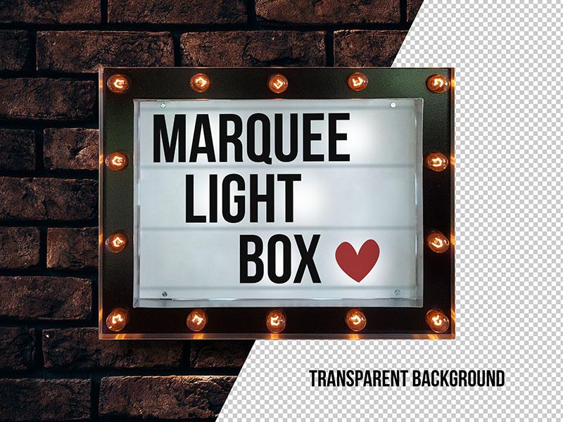 Free Marquee Cinema Light Box Typography Mockup Psd 8