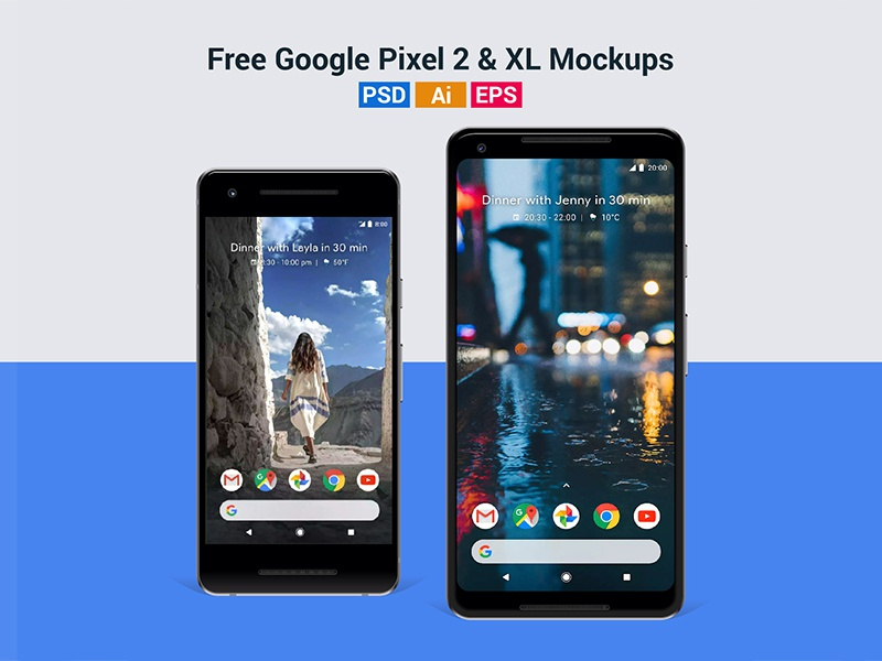 Free Google Pixel 2 & Pixel 2 XL Mockup in PSD, Ai & EPS