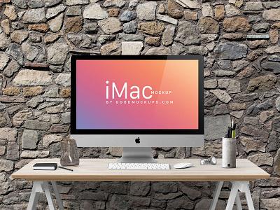 Free Apple iMac 27-Inches Photo Mockup PSD mockup freebie psd apple imac free mockup imac mockup imac