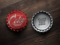 Free Soft Drink Bottle Cap Mockup PSD