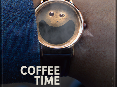 Coffee Time happy face happy coffee watch design