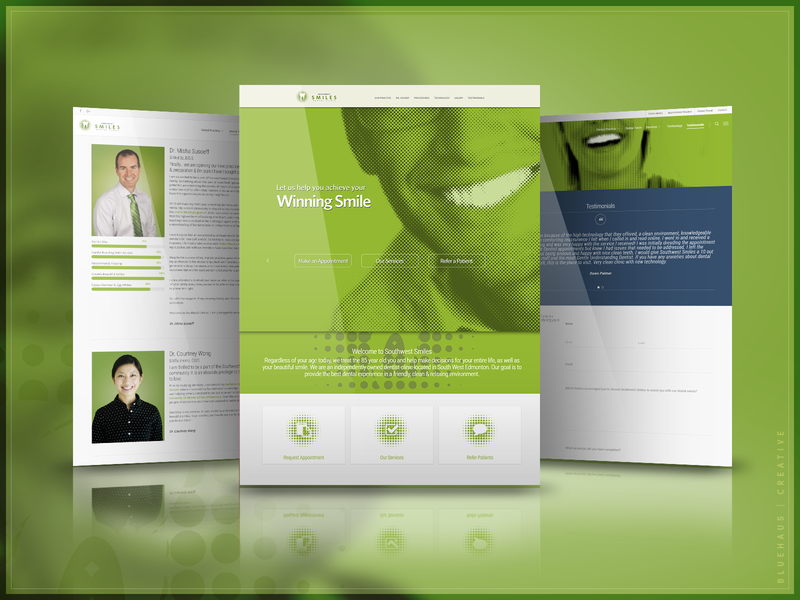 Southwest Smiles Dental Clinic | Website tooth teeth smiles smile logo halftone green family ux design design website brand and identity dentistry dentists dentist dental clinic dental care dental brand