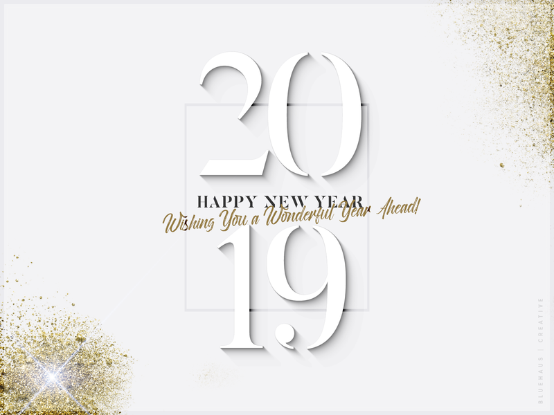 2019 New Year graphic design typography type dust gold flake gold white happy new year 2019 design