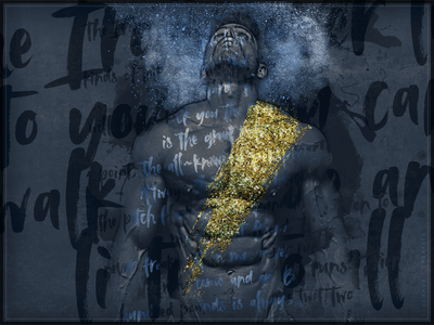 Blue Athlete Type abs paint dust smoke fitness athletic athlete navy blue navy gold blue typogaphy type art type design