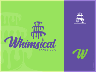 Whimsical Cake Studio - Logo bold handwriting font bake shop bakery purple green wedding icing cake type logo type daily typogaphy type logo brand design