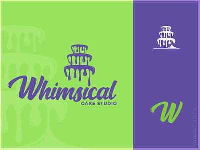 Whimsical Cake Studio - Logo bold handwriting font bake shop bakery purple green wedding icing cake type logo type daily typogaphy type logo brand design