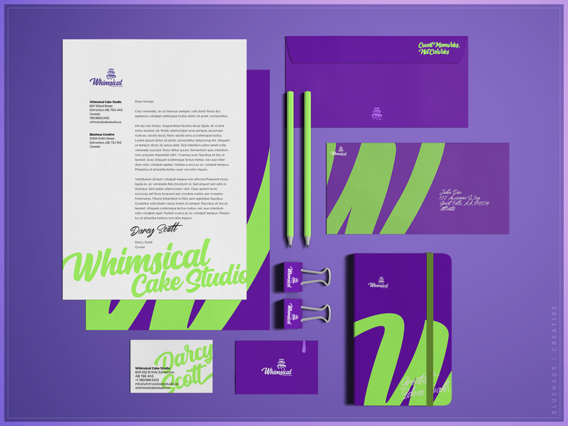Whimsical Cake Studio | Stationary notebook cards envelope letterhead purple bold stationary design stationary typogaphy type green logo brand design