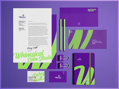 Whimsical Cake Studio | Stationary notebook cards envelope letterhead purple bold stationary design stationary typogaphy type green logo brand design