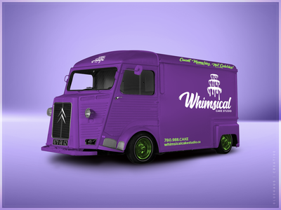 Whimsical Cake Studio | Vehicle bakery cake vehicle wrap vehicle purple bold typogaphy type green logo brand design