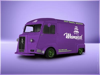 Whimsical Cake Studio | Vehicle bakery cake vehicle wrap vehicle purple bold typogaphy type green logo brand design