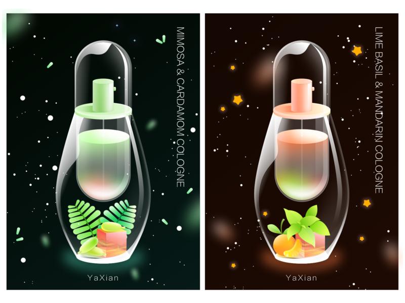 perfume bottle design colour illustration