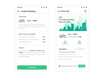 Social Cycle - Confirm ride dribbble interaction mobycy ola uber rapido mobileui pedal freemo ride travel bounce vogo yulu cycles cycle interface uiux ui