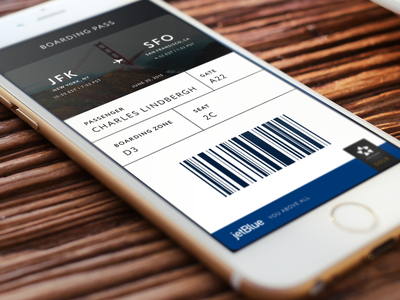 Mobile Boarding Pass concept simple air plane app ios iphone mobile boarding pass jet blue