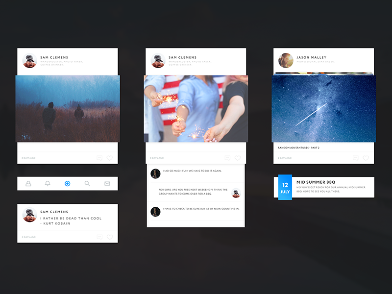 Simple UI PSD freebie free psd share post event android ios app network social ui
