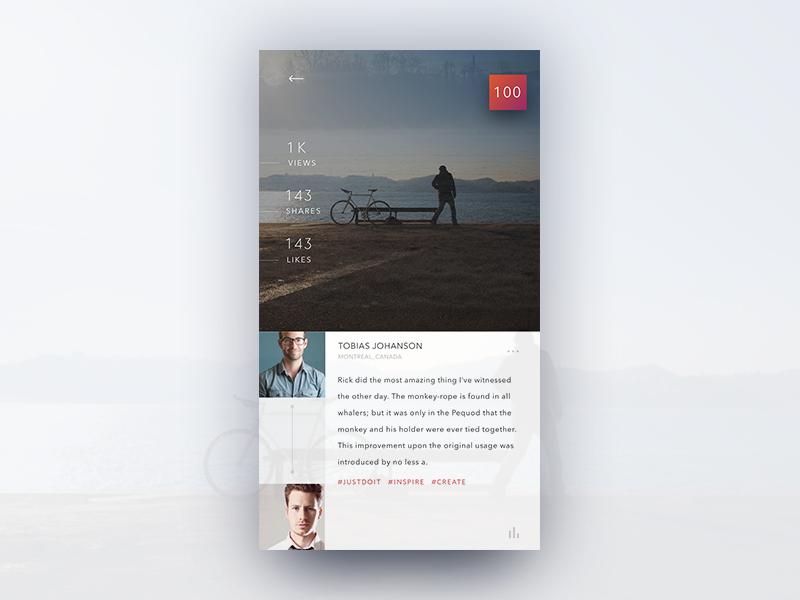 Post ui mobile application design concept minimal simple. sleek ios app post