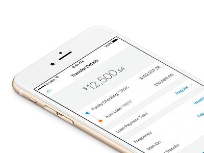 Transfer Details minimal app simple iphone ux ui account money transfer fintech bank