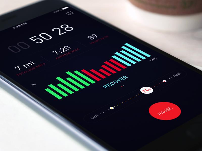 Training App native running timer graph ios app fitness health tech wearable