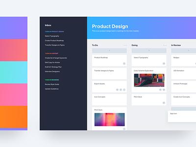 Project Management Web App asana trello design language simple minimal components design react web app colorful