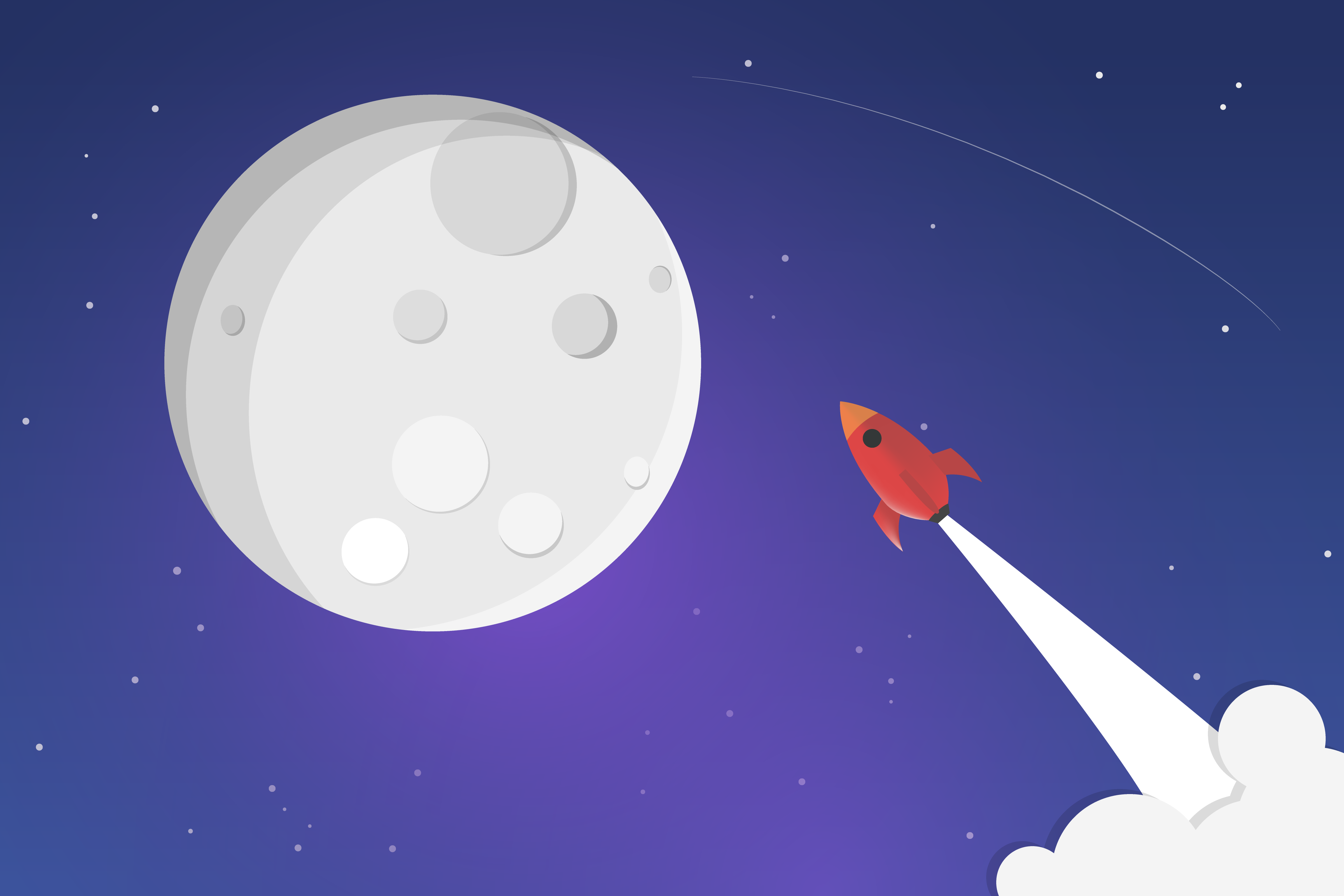 rocket ship to the moon by sarah thomson dribbble