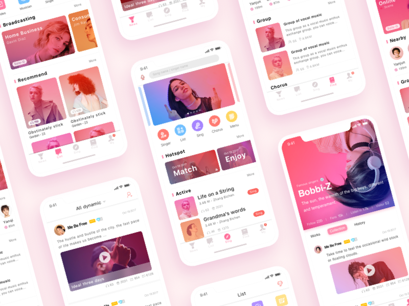 Music App music/pink/interface