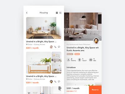Rental interface (2) 设计 苹果手机 移动 租房 概念 清洁