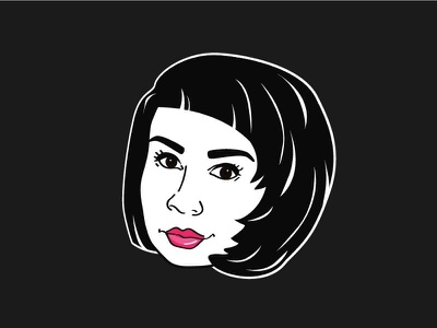 Sticker for fashion blogger person character woman girl icon shape vector fashion face stiker
