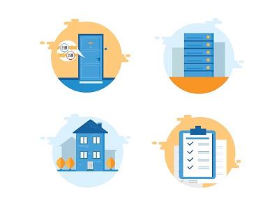 Illustrations for infographics flat file folder report server door building house icon illustration