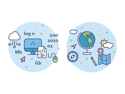 icons for education portal /informatics/geography school subject student informatics lesson geography education study school outline icon illustration