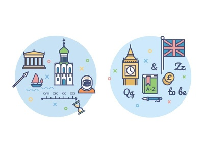 icons for education portal /history/english school subject big ben history lesson book education language study school outline icon illustration