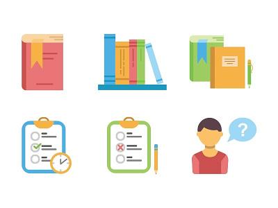 Study icons school subject student pupil lesson book education study school flat icon illustration
