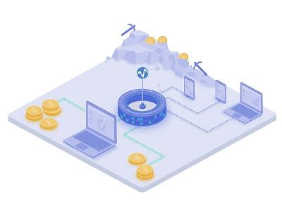 Isometric Illustration internet money computer coin bitcoin mining blockchain icon isometric