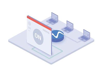 Web browser mining illustration bitcoin money card blockchain mining isometric icon