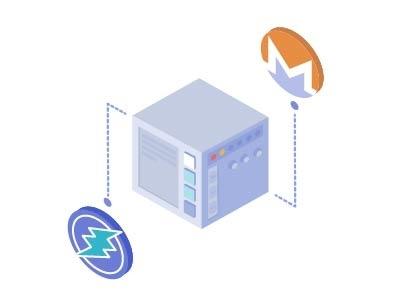 Auto multicoin illustration bitcoin money card blockchain mining isometric icon