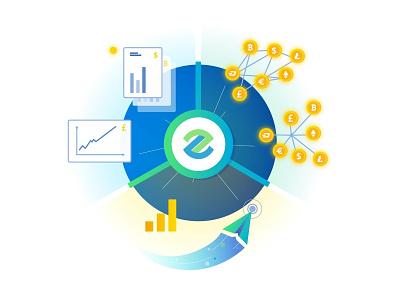 Blockchain banks internet banking mining infographics effective money coin bitcoin illustration bank block chain