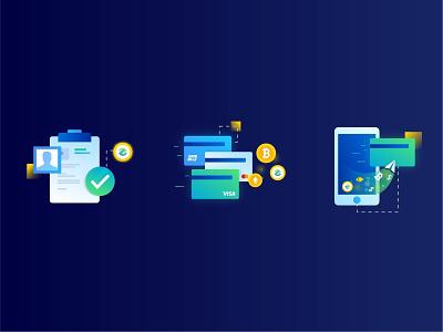 blockchain bank icon token coin bitcoin mobail verification visa card money bank block chain icon